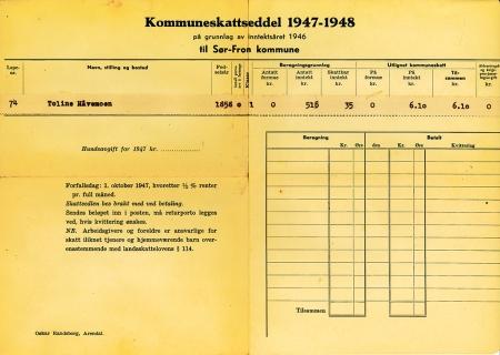30 Kommuneskatseddel 1947 - 1948, Toline Håvemoen.
