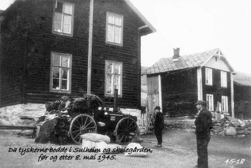 Da tyskerne bodde i Sulheim og skolegården, før og etter 8. mai 1945.