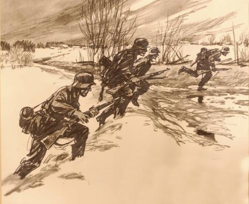Tyske soldatar angrip ved Furnes. Forsvarsmuseet