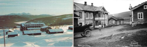 T.v. Hotellet som O. T. Kampesæter bygde i 1936. T.h. Den gamle skysstasjonen på Kampesæter, ca. 1930.