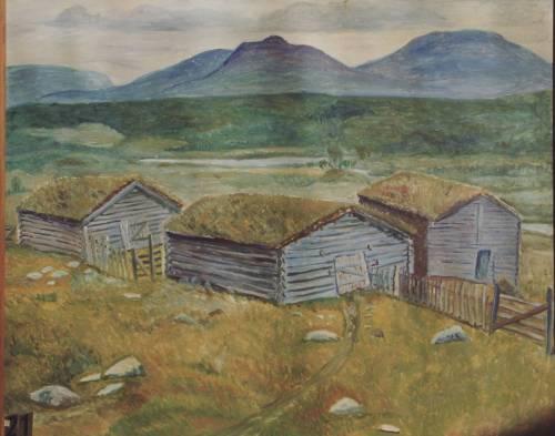 Setra til Nordre Risdal. Måleri av Sigmund Hernæs.